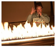 physics member doing an experiment